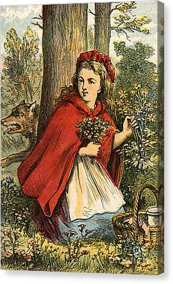 Little Red Riding Hood Gathering Flowers Canvas Print