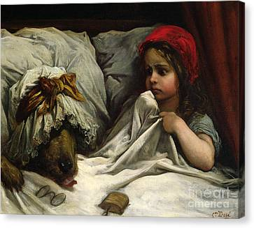 Grandmother Canvas Print - Little Red Riding Hood by Gustave Dore