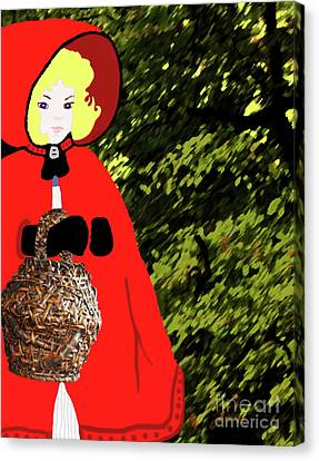 Canvas Print featuring the painting Little Red Riding Hood In The Forest by Marian Cates
