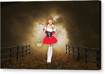 Canvas Print featuring the mixed media Little Red Riding Hood by Marvin Blaine