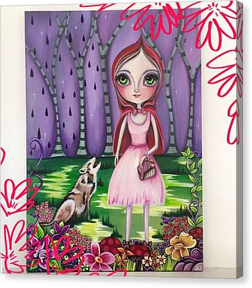 little Red Riding Hood Painting Canvas Print by Jaz Higgins