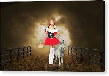 Canvas Print featuring the mixed media Little Red Riging Hood And The Big Bad Wolf by Marvin Blaine