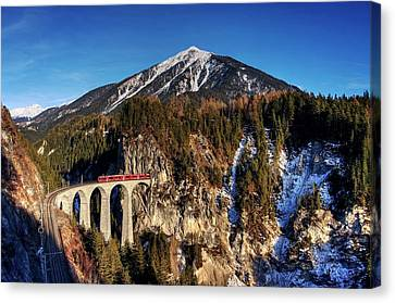 Canvas Print featuring the photograph Little Red Train In The Swiss Alps by Peter Thoeny
