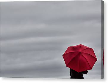 Little Red Umbrella In A Big Universe Canvas Print by Don Schwartz