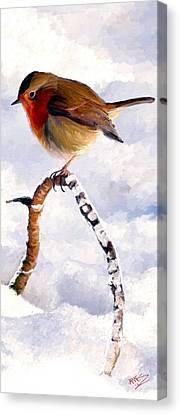 Canvas Print featuring the painting Little Robin Redbreast by James Shepherd
