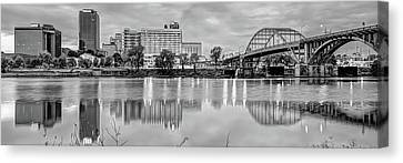 Cities Canvas Print - Little Rock Arkansas Skyline Panoramic - Black And White by Gregory Ballos