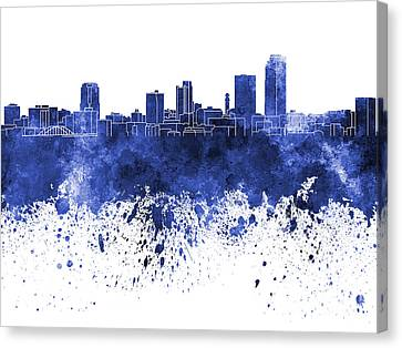 Little Rock Skyline In Blue Watercolor On White Background Canvas Print
