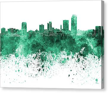 Little Rock Skyline In Green Watercolor On White Background Canvas Print