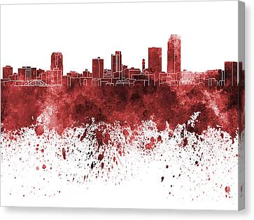 Little Rock Skyline In Red Watercolor On White Background Canvas Print