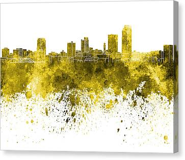 Little Rock Skyline In Yellow Watercolor On White Background Canvas Print