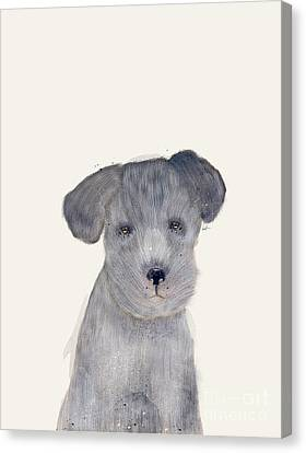 Canvas Print featuring the painting Little Schnauzer by Bri B
