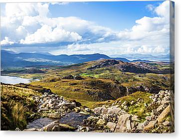 Canvas Print featuring the photograph Little Stream Running Down The Macgillycuddy's Reeks by Semmick Photo