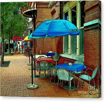 Canvas Print featuring the painting Little Street Cafe by Elinor Mavor