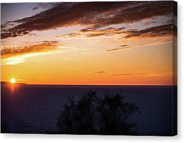 Canvas Print featuring the photograph Little Traverse Bay Sunset by Onyonet  Photo Studios