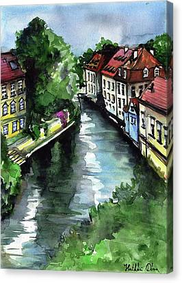 Canvas Print featuring the painting Little Venice In Prague Certovka Canal by Dora Hathazi Mendes