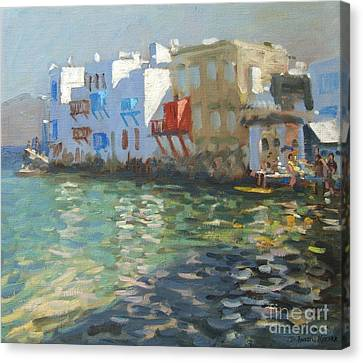 Aegean Canvas Print - Little Venice Mykonos by Andrew Macara