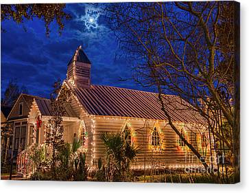 Little Village Church With Star From Heaven Above The Steeple Canvas Print by Bonnie Barry
