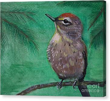 Canvas Print featuring the painting Little Warbler by Leslie Allen