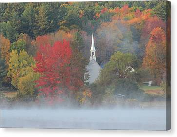 Little White Church Autumn Fog Canvas Print by John Burk