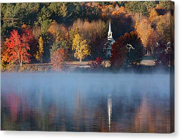 Canvas Print featuring the photograph Little White Church On Crystal Lake by Jeff Folger