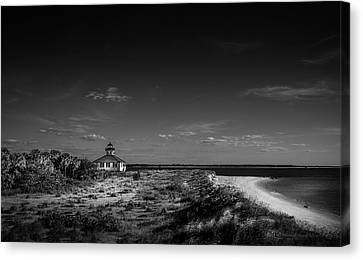 Little White Lighthouse Bw Canvas Print by Marvin Spates