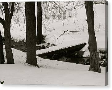 Little Winter Crossing Canvas Print by Debra     Vatalaro