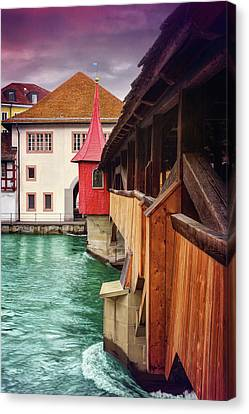 Little Wooden Bridge In Lucerne Switzerland  Canvas Print
