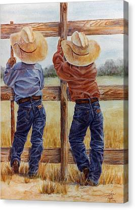 Little Wranglers Canvas Print