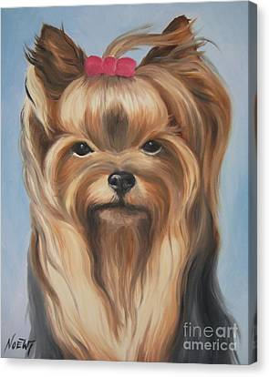 Canvas Print featuring the painting Little Yorkshire Princess by Jindra Noewi