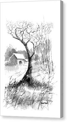 Canvas Print featuring the painting Little Zen Tree 1832 by Sean Seal