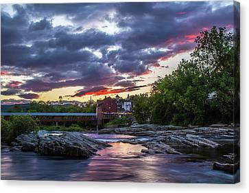 Littleton Sunset On The Rocks Canvas Print