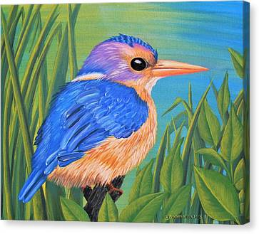Canvas Print featuring the painting Litttle King Of The Fishers by Sophia Schmierer
