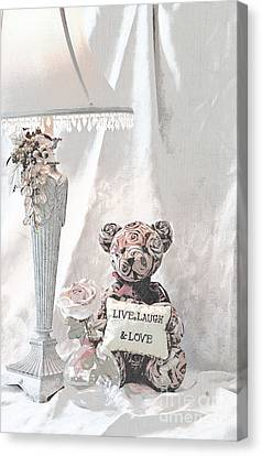 Live, Laugh And Love Bear Canvas Print by Sherry Hallemeier