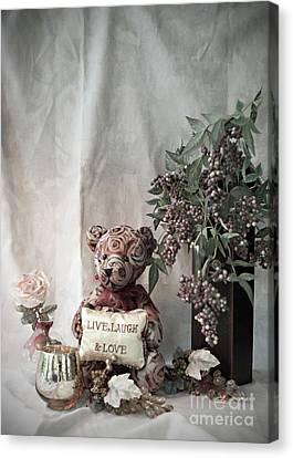Live, Laugh, Love Bear No. 2 Canvas Print by Sherry Hallemeier