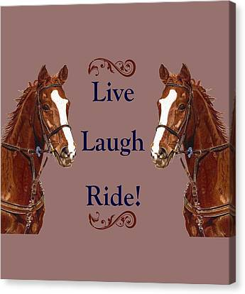 Live, Laugh, Ride Horse Canvas Print by Patricia Barmatz