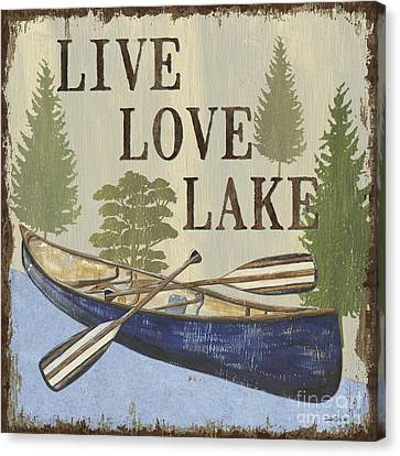 Row Boat Canvas Print - Live, Love Lake by Debbie DeWitt