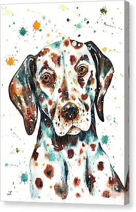 Canvas Print featuring the painting Liver-spotted Dalmatian by Zaira Dzhaubaeva