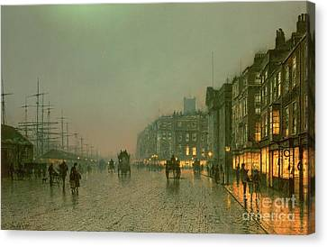 Street Lights Canvas Print - Liverpool Docks From Wapping by John Atkinson Grimshaw