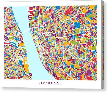 Liverpool England City Street Map Canvas Print