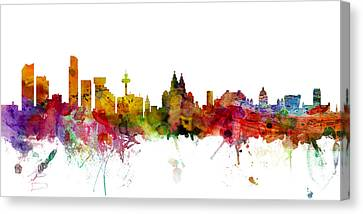 Michael Canvas Print - Liverpool England Skyline Panoramic by Michael Tompsett