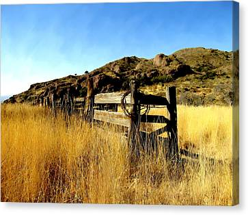 Livery Fence At Dripping Springs Canvas Print by Kurt Van Wagner