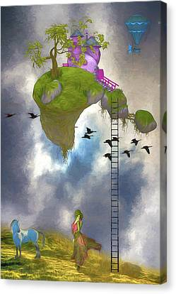 Living In The Clouds Canvas Print by John Haldane
