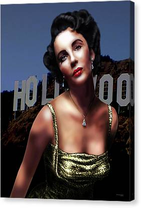 Liz Taylor Canvas Print by Virginia Palomeque