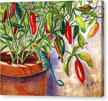 Canvas Print featuring the painting Lizard In Hot Sauce by Marilyn Smith