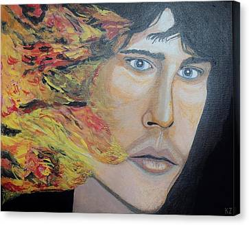 Canvas Print featuring the painting Lizard King Light My Fire. by Ken Zabel