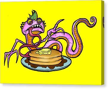 Lizard V. Pancakes Canvas Print by Christopher Capozzi