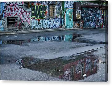 Canvas Print featuring the photograph Ljubljana Graffiti Reflections #2 - Slovenia by Stuart Litoff