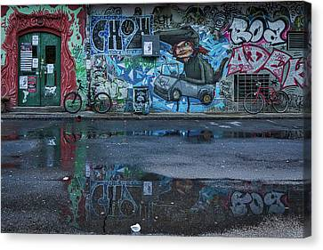 Canvas Print featuring the photograph Ljubljana Graffiti Reflections #3 - Slovenia by Stuart Litoff