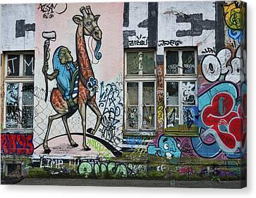 Canvas Print featuring the photograph Ljubljana Graffiti - Slovenia by Stuart Litoff