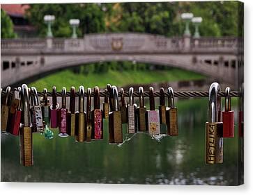 Canvas Print featuring the photograph Ljubljana Love Locks - Slovenia  by Stuart Litoff